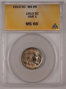 1913 Buffalo Nickel 5C Coin ANACS MS-66 VAR 1 Lightly Toned (1)