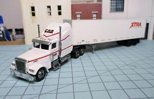 HO scale tractor trailer, Malibu Freightliner, Walthers 45' van, GOD, XTRA
