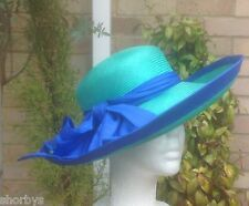 Ladies Formal Hat ADAM MCNEE Wedding Races Ascot Mother of Bride Green Blue 070