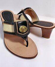 COACH Nickie Woven/Black Patent Brass Turnlock Slide Mule Sandals Size US 5B