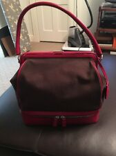 VINTAGE PRADA BROWN CANVAS WITH RED LEATHER TRIM