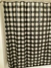 "BLACK & CLEAR BUFFALO PLAID STRIPE 72"" SHOWER CURTAIN WITH 12 CLEAR RINGS"