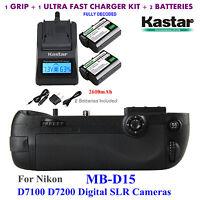 MB-D15 Battery Grip, EN-EL15 Battery, Charger for Nikon D7100 D7200 Digital SLR