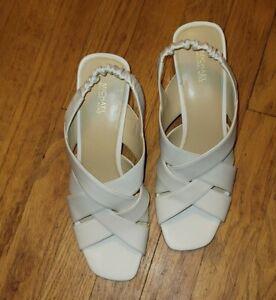 Michael Kors MK Women's  Block Heel Sandals  Size 10M Cream