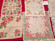 New Listing1940s -1960s Hankies Handkerchief Linen Cotton & Other Material 6 Total Lot K