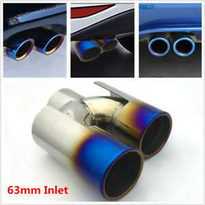 1X Car Roasted Blue Double Out Stainless Steel Exhaust Tip Tail Pipe Fit for BMW