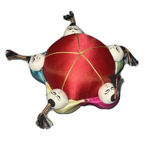 """Vintage 3"""" Oriental Chinese Asian Silk Round 5 China Doll Figurines Pin Cushion"""