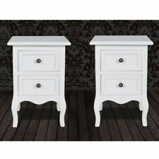 2x White Bedside Table Nightstands with 2 Drawers