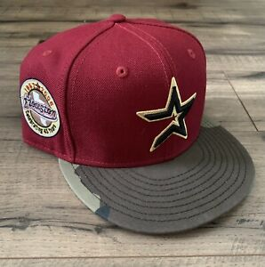 New Era Houston Astros Custom Fitted Hat Sz 7 5/8 Gold UV