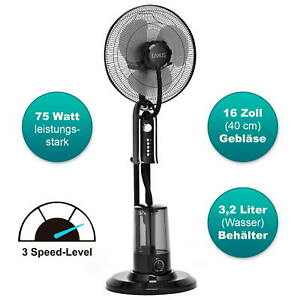 Stand-Ventilator + Sprühnebel Luftbefeuchter Leise Oszillation Ventilator Wasser