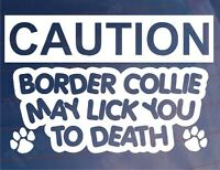 CAUTION BORDER COLLIE MAY LICK TO DEATH Home Window/Door Dog Breed Sign/Sticker