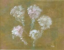 MODERN ABSTRACT MINIMALIST WHITE WISTERIA FLOWER GOLD ORIGINAL OOAK ART PAINTING
