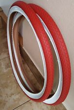 Pair of 26x2.125 Beach Cruiser Low rider Bicycle Tires  Red/white Wall