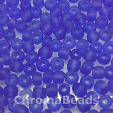 50g glass seed beads - Mid Blue Frosted - approx 4mm (size 6/0) jewellery making