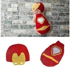 Newborn Baby IRON MAN Hat & Cape Costume Set Crochet Photo Prop 0-1 mos