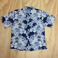 Bermuda Bay Men's L 100% Silk Short Sleeve Button Up Floral Hawaiian Camp Shirt