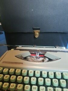 Hermes Baby Vintage Typewriter Green With Case Made in Switzerland Never Used