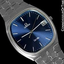 "1981 OMEGA ""De Ville"" Mens Quartz Watch, Quick-Setting Hour, Date - SS Steel"