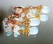 14K Gold GF Hoop White Moonstones Opal Rainbow Moonstone Briolette Earrings