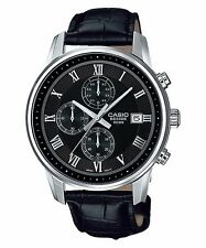 BEM-511L-1A Black Casio Watches Stainless steel case Chronograph leather band