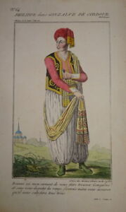 BELLE GRAVURE COULEUR PORTRAIT COSTUME THEATRE HOMME TURC TURQUIE COMEDIE1820