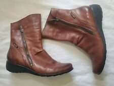 MEPHISTO Air-jet Brown Leather Ankle Booties Boots Women's US 8 1/2