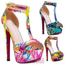 Scarpe donna plateau sandali floreali tacchi alti T-bar cinturini nuove SQ1639