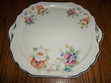Floral Platter with Silver Edging