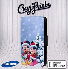 Xmas Minnie Mickey Mouse Cute Christmas Phone Leather Flip Case Cover V15