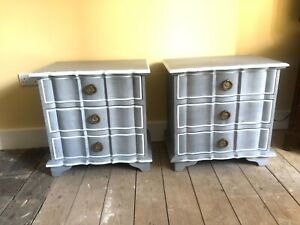 Vintage Grey Painted Bedside Chests Antique French Style