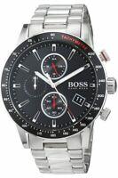 BRAND NEW HUGO BOSS BLACK DIAL STAINLESS STEEL CHRONOGRAPH MENS WATCH HB1513509