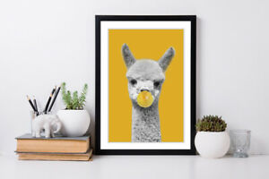 HAPPY ALPACA BUBBLE BLACK AND WHITE YELLOW MUSTARD FRAMED POSTER WALL ART PRINT