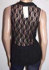 Miss Shop Brand Black Lace Button Front Peplum Top Size 10 BNWT #SV114