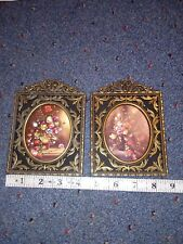 Vintage Brass Floral Design Pictures Marked Italy