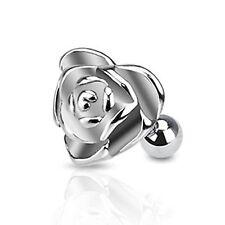 "Heart Rose Flower Tragus/Cartilage Barbell Ring Earring 1/4"" 16 Gauge"