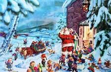 Vintage Santa Reindeer, Elves at Northpole Christmas Eve
