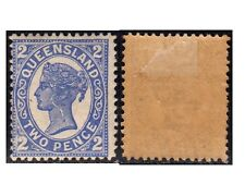 QUEENSLAND stamps 1897 Victoria 2 blue, variety: crached plate SG.234a MH (F157)