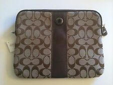 NWT COACH Signature Stripe Tablet iPad Khaki / Mahogany Crossbody Bag # 63219