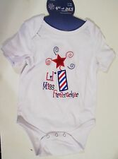 CHILD BABY 6-12 MTS TODDLERS PATRIOTIC RED WHITE BLUE LIL MISS FIRECRACKER SHIRT