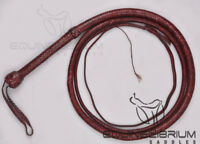 Equinelibrium's 10 Foot 12 Plait Cowhide Leather Bullwhip, Indiana Jones Style