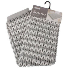 Helena Chunky Knit Microfibre Supersoft Bath Mat Silver & Ivory 46cm x 76cm NEW