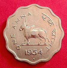 """INDIA BULL SERIES  """" ONE ANNA """" 1954  MUMBAI  MINT UNC RARE COIN"""
