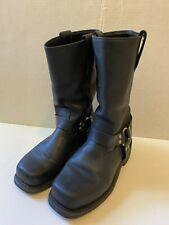 Milwaukee Black Leather Men's Harness Motorcycle Steel Toe Boot Size 10-EE WIDE