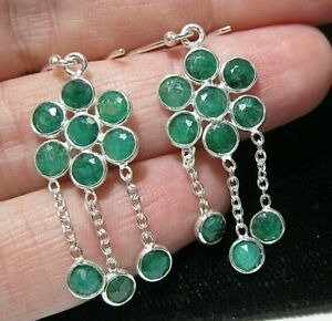 Beautiful Jewellery Sterling SILVER Natural Emerald 8.10cts Gem Stone EARRINGS