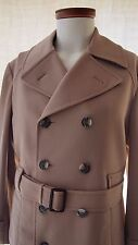 Mens Vintage Belted Khaki Tan Double Breasted Trench Coat Traveller Knit Medium