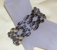 VINTAGE STATEMENT CHUNKY SILVER TONE CHAIN LINK BRACELET G816