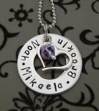 Personalised  Hand Stamped Friends Family Sisters  Small Pendant  25mm S/steel