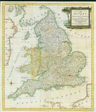 1762 Antique Map ACCURATE MAP OF THE RIVERS OF ENGLAND WALES Robert Sayer (LM6)