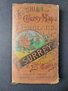 REAL MAP from 1877 Great Gift Idea! Crutchley Gall Inglis Folding Surrey London