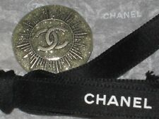 CHANEL AUTH 1 CC LOGO FRONT SILVER SPARKLE  BUTTON  24 MM / over 1'' NEW
